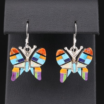 Sheryl Martinez Navajo Diné Sterling Butterfly Motif Inlay Earrings