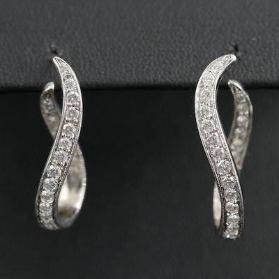 14K White Gold 1.00 CTW Diamond Inside-Out Twist Hoop Earrings