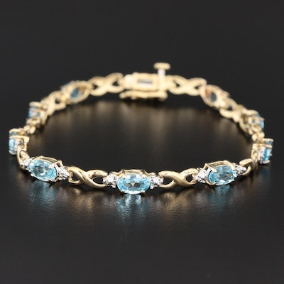 10K Yellow Gold Topaz and Diamond Bracelet