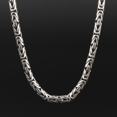 Sterling Byzantine Chain Link Necklace