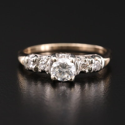 Vintage 14K Yellow and White Gold Diamond Ring