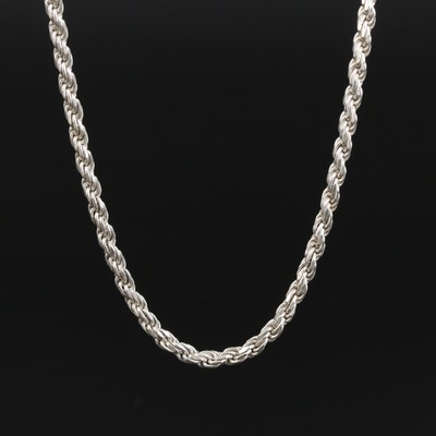 Sterling Silver Rope Chain Link Necklace