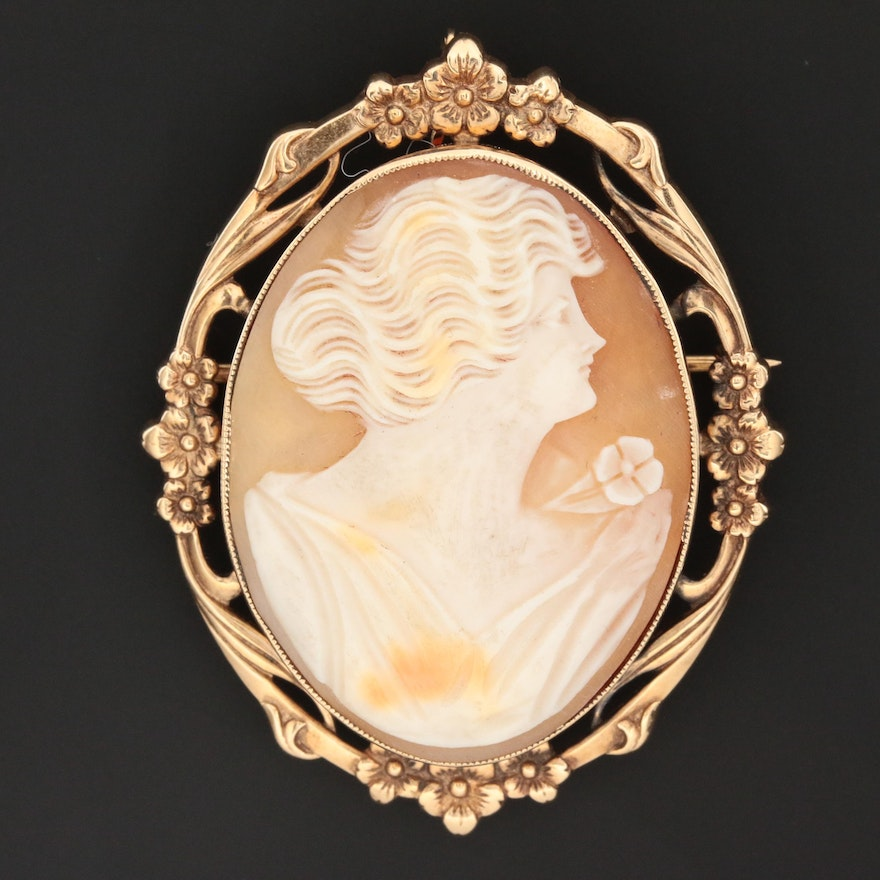 Vintage 14K Yellow Gold Carved Shell Cameo Converter Brooch