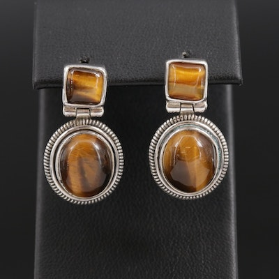 Sterling Silver Tiger's Eye Drop Earrings