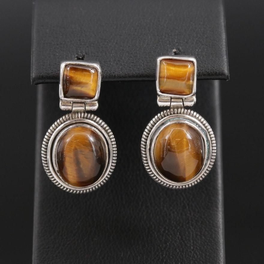 Sterling Silver Tiger's Eye Drop Earrings