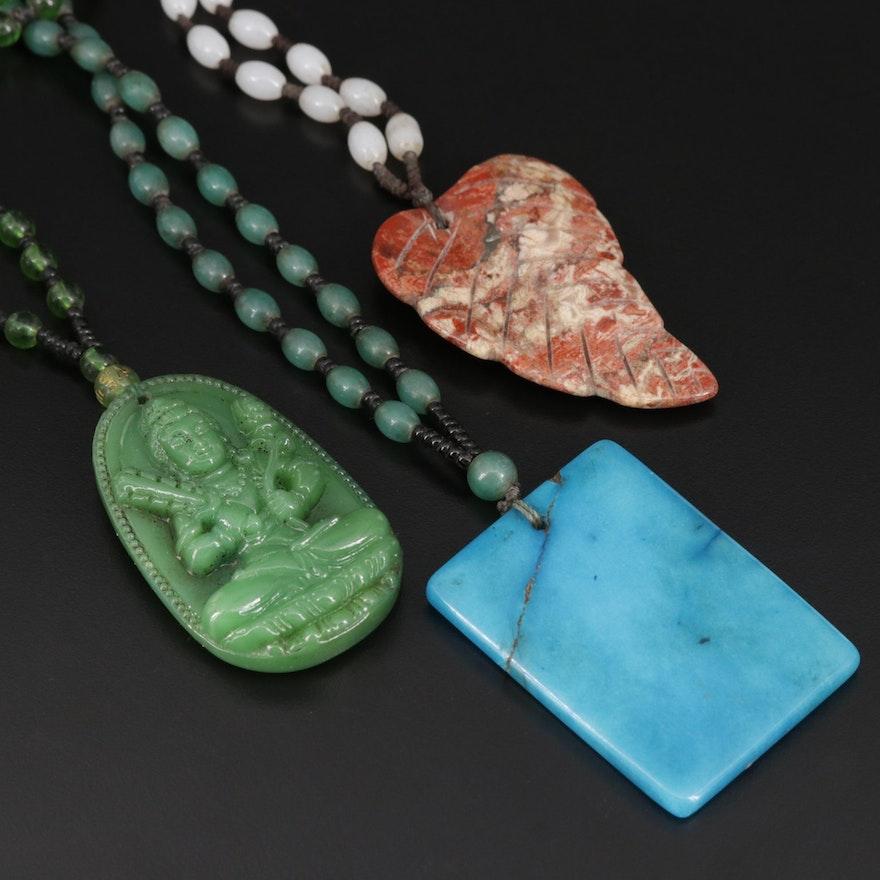 Pendant Necklaces Including Jasper, Glass and Quartz