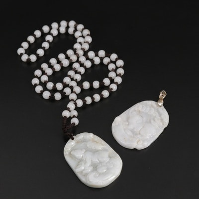 Chinese Year of the Rat and Pig Jadeite Carved Pendants and Necklace