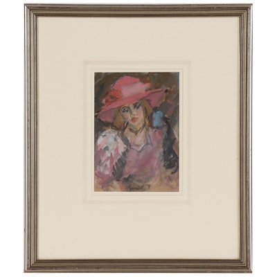 "Robin Dudley Bailey Acrylic Painting ""Pink Hat"""