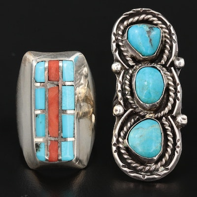 Southwestern Style Sterling and 900 Silver Turquoise and Coral Rings