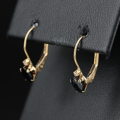 14K Yellow Gold Sapphire and Diamond Drop Earrings