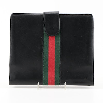Gucci Webstripe Five-Ring Planner in Black Leather with Notebook, Vintage