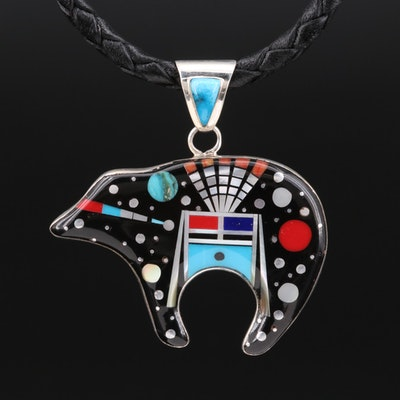 Stella Smiley Navajo Diné Sterling Turquoise and Mother of Pearl Bear Necklace