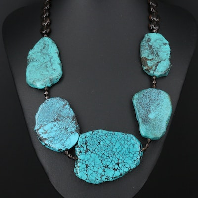 Sterling Turquoise and Smoky Quartz Beaded Necklace
