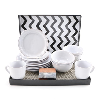 American Atelier Stoneware Dinnerware, Serving Trays, Place Mats and Coasters