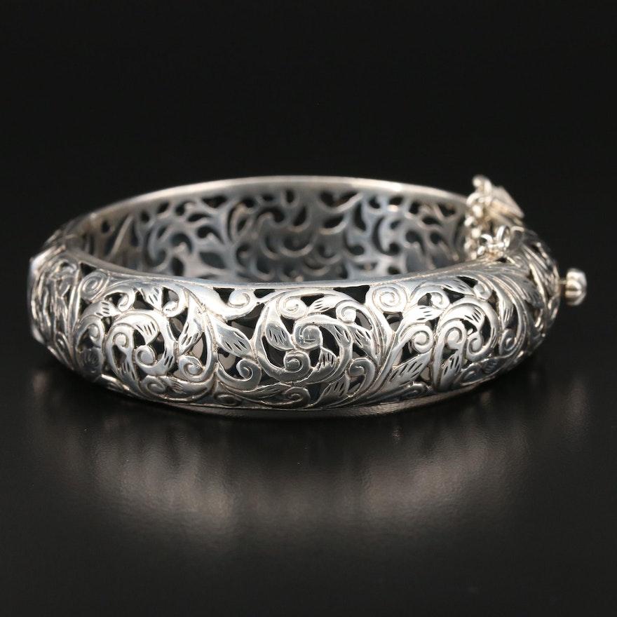 Silpada Sterling Foliate Openwork Hinged Bangle Bracelet