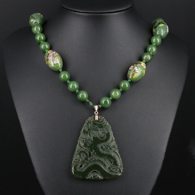 Nephrite Dragon and Phoenix Necklace with Cloisonné, Sterling and 14K