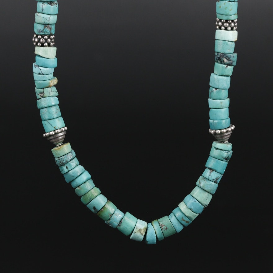 Beaded Turquoise Necklace with Sterling Silver Findings