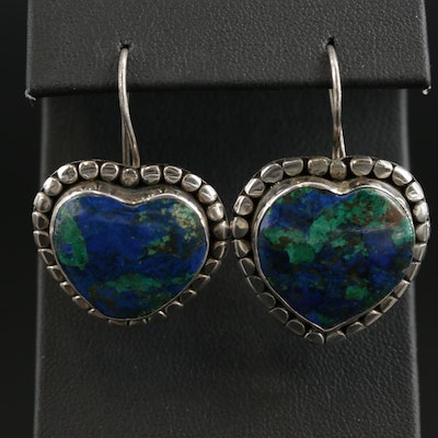 Sterling Silver Azurmalachite Heart Dangle Earrings