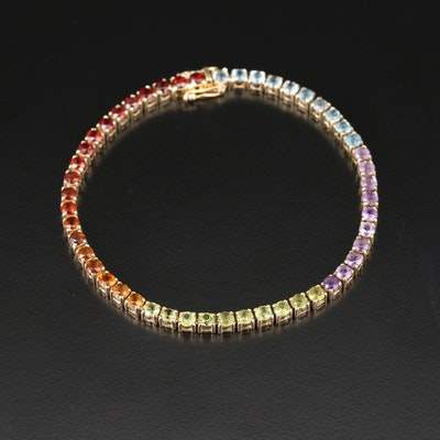 14K Yellow Gold Line Bracelet Including Garnet, Citrine, Peridot and Topaz