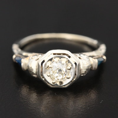 Edwardian 18K White Gold Diamond and Sapphire Ring