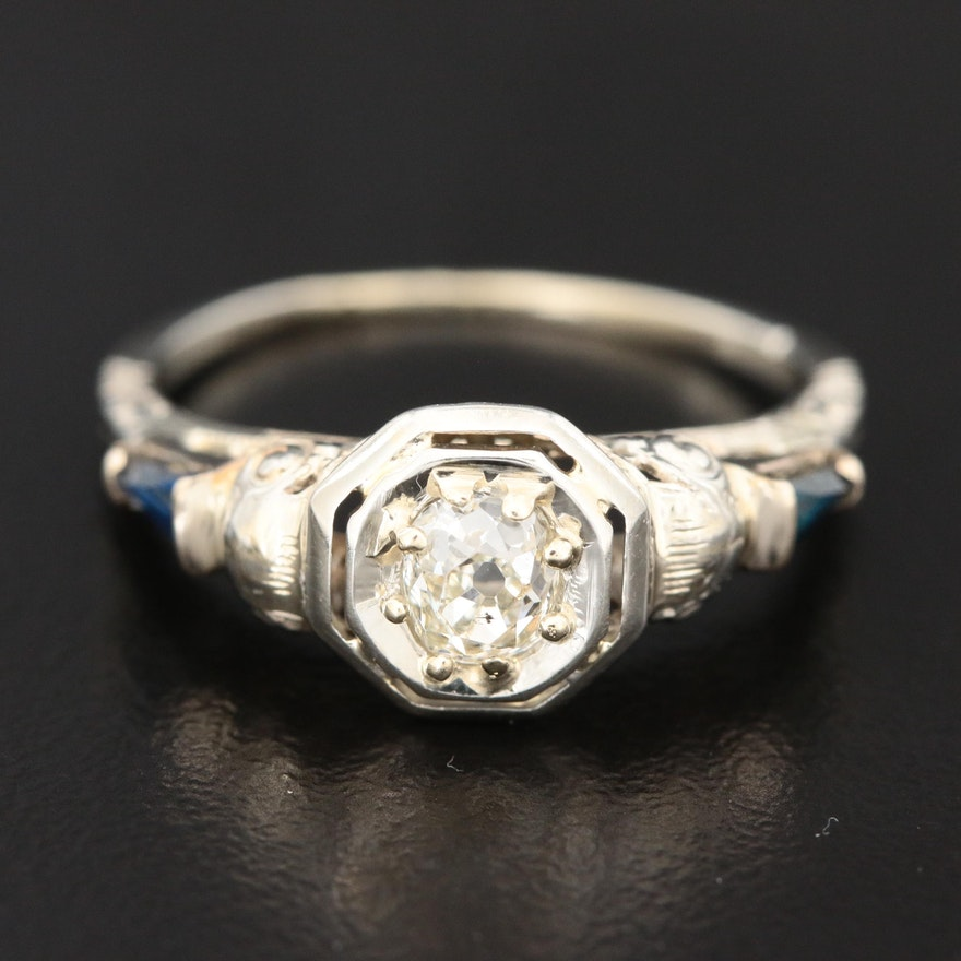 Edwardian 18K White Gold Diamond and Sapphire Ring