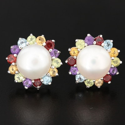 Sterling Silver Cultured Pearl and Gemstone Button Earrings