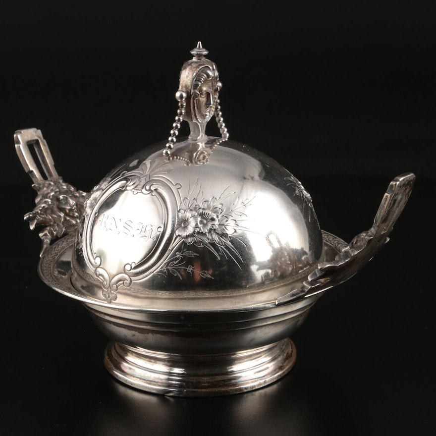 Wood & Hughes Coin Silver Butter Dish, Mid to Late 19th Century