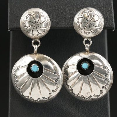 Southwestern Sterling Silver Turquoise Shadowbox Earrings