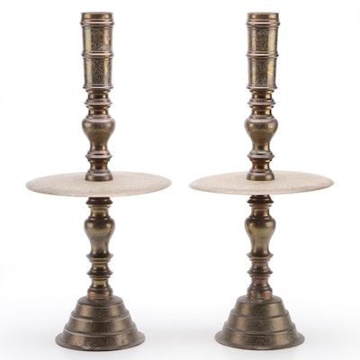 Pair of Thai Etched Brass Altar Candlesticks, Early 20th Century