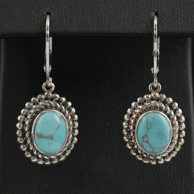 Sterling Silver Turquoise Oval Dangle Earrings