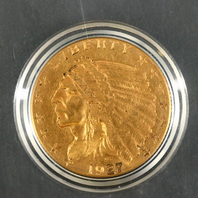 1927 Indian Head $2.50 Gold Quarter Eagle Coin