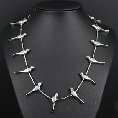 Bird Motif Necklace Sterling Silver Turquoise Necklace