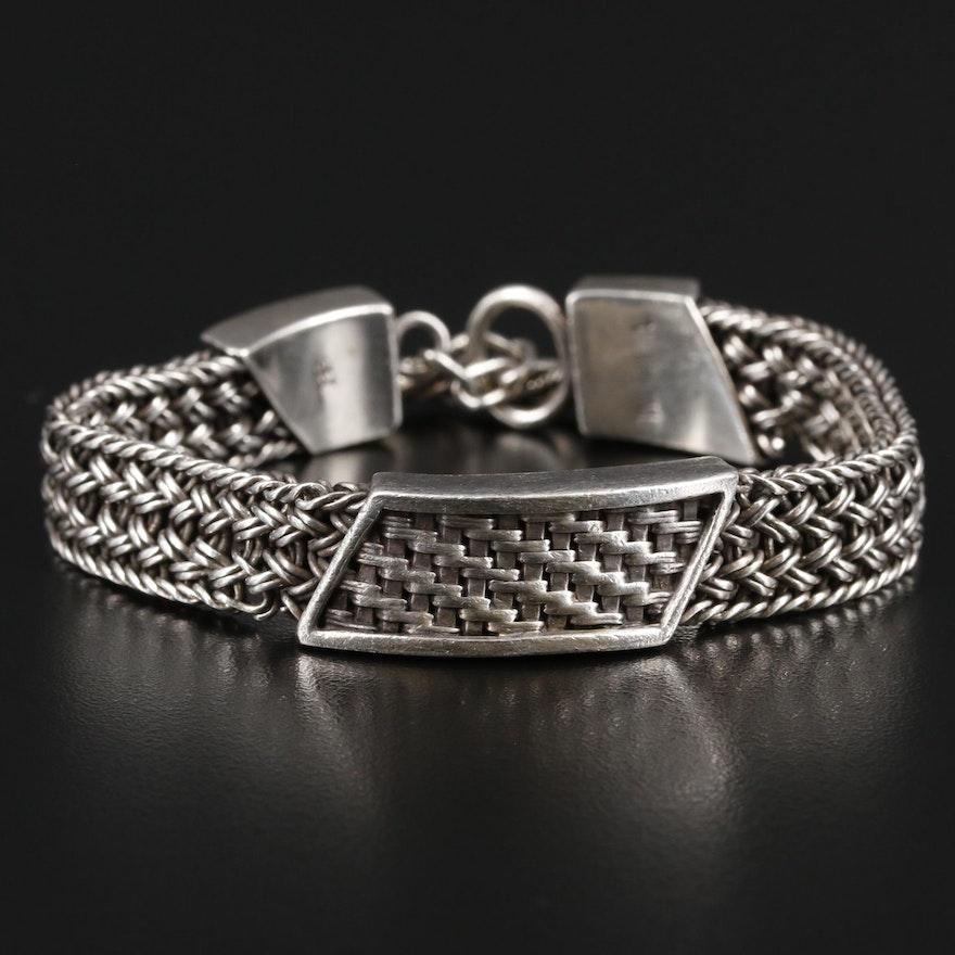 Lois Hill Sterling Silver Woven Mesh Bracelet