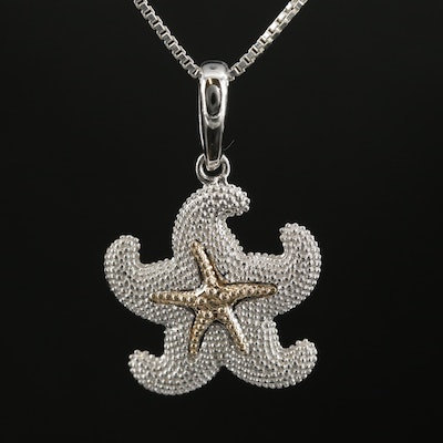 Sterling Silver Starfish Pendant Necklace with 14K Yellow Gold Accent