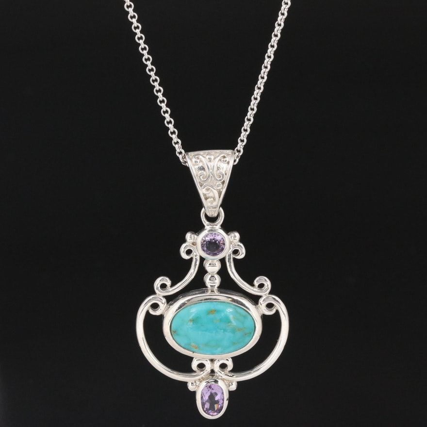 Sterling Silver Turquoise and Amethyst Pendant Necklace