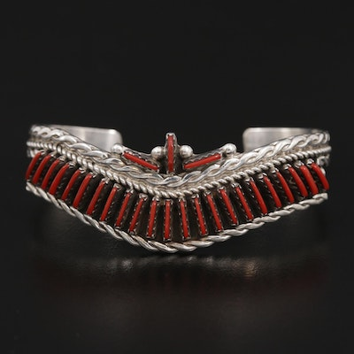 Signed Southwestern Style Sterling Imitation Coral Petit Point Cuff