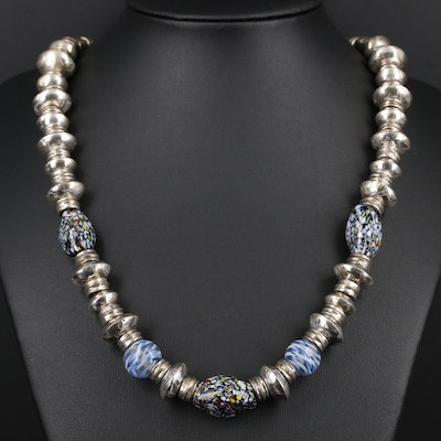 Sterling Silver Glass Beaded Necklace