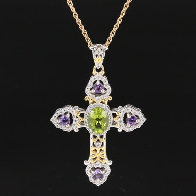 Sterling Silver Cross Pendant Necklace with Peridot, Amethyst and White Topaz