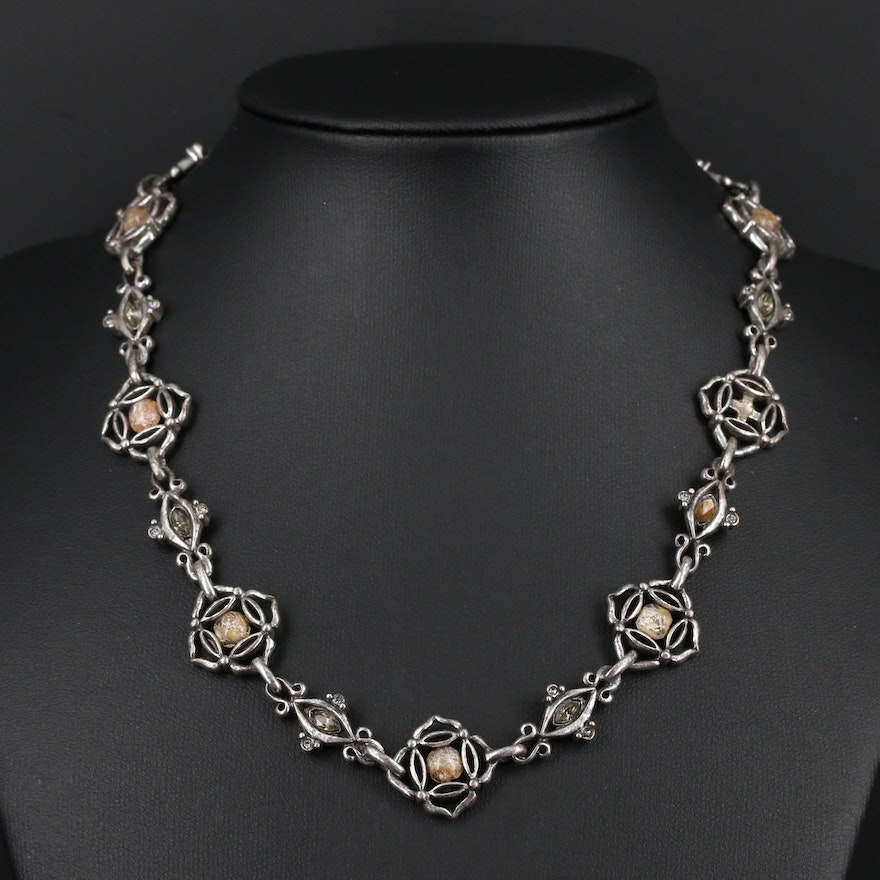 Sterling Silver Art Glass and Rhinestone Necklace