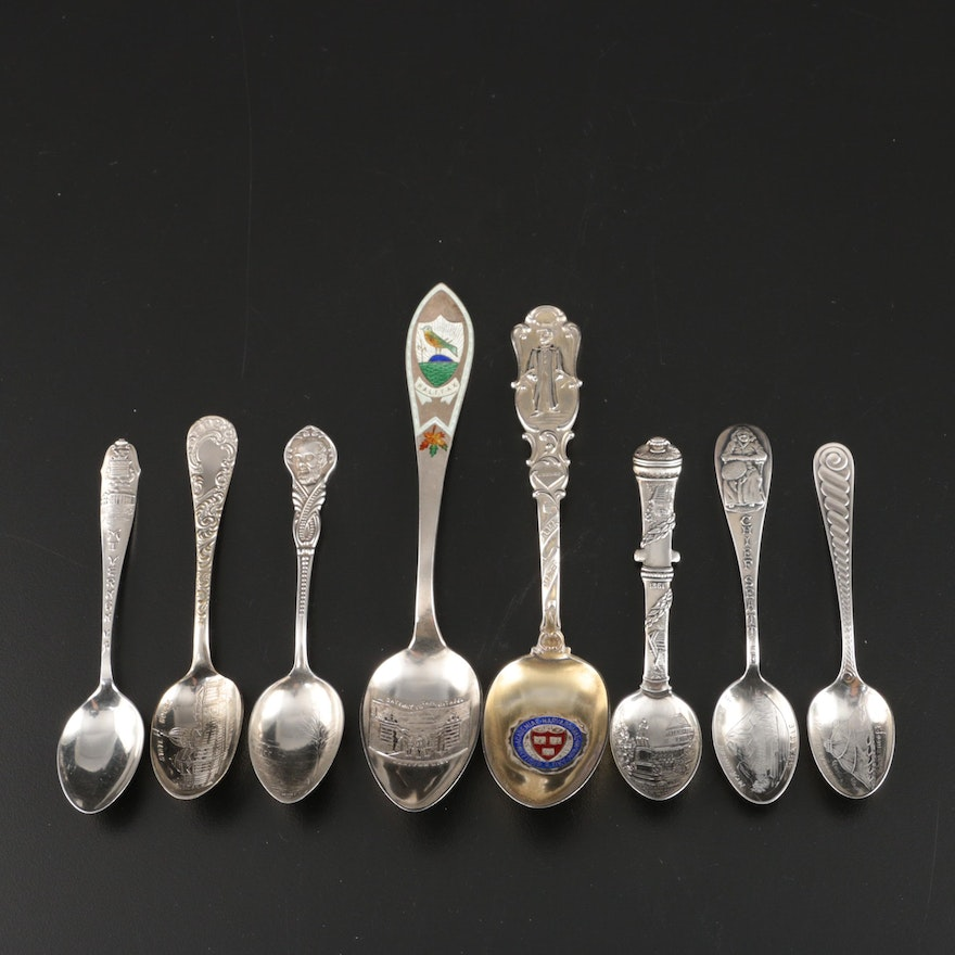 Sterling Silver Souvenir Spoons Including Towle and Charles M. Robbins