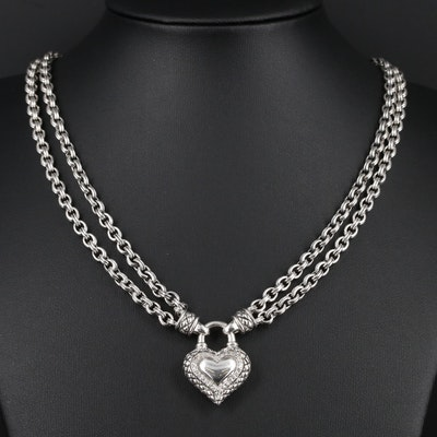 Sterling Silver Diamond Heart Locket Double Cable Chain Necklace