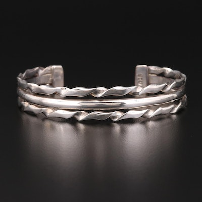 Sterling Silver Twisted Silver Cuff