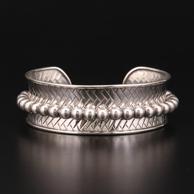 Sterling Silver Beaded and Textured Cuff