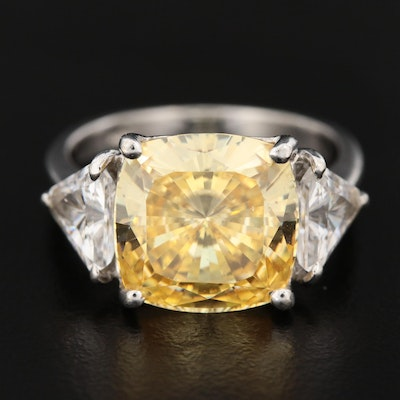 14K White Gold Cubic Zirconia Ring with Yellow Cubic Zirconia
