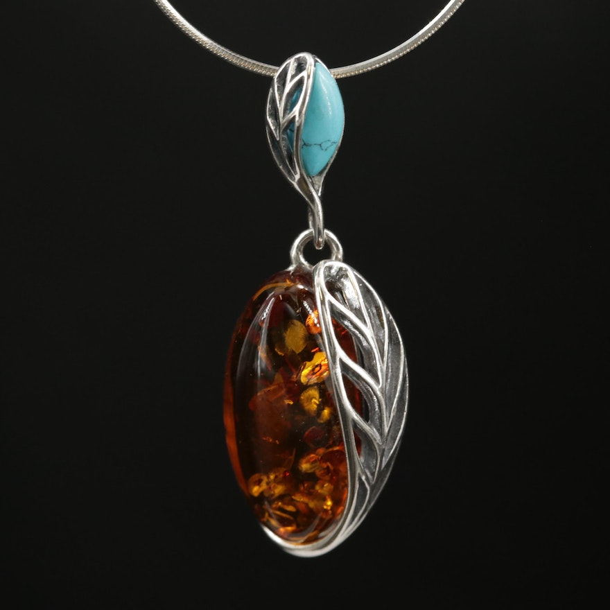 Sterling Silver Amber and Turquoise Pendant Necklace