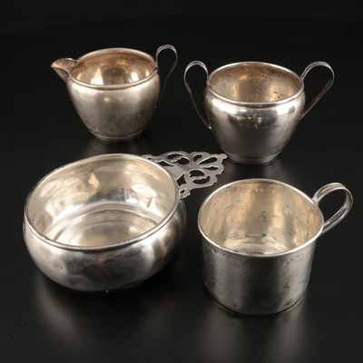 National Sterling Silver Creamer and Sugar Bowl with Sterling Porringer and Cup