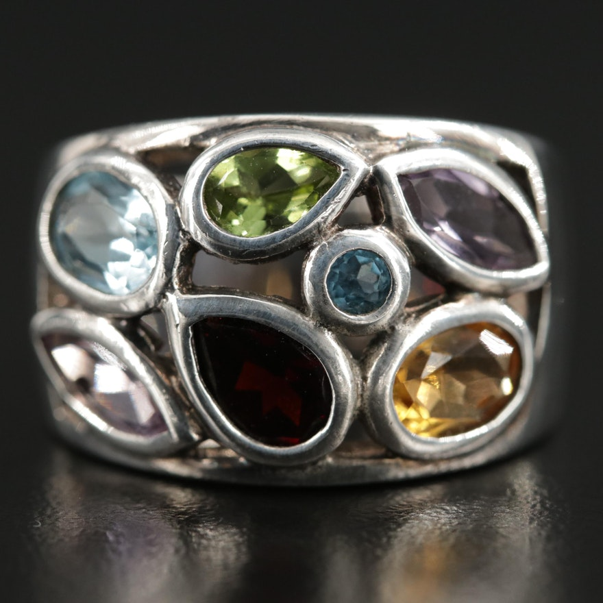 Sterling Silver Ring with Garnet, Citrine and Peridot