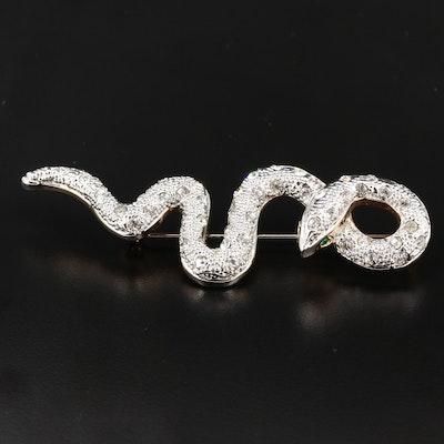 Rhinestone Snake Motif Brooch