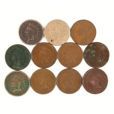 Eleven Better Date Indian Head Cents, 1859 to 1878