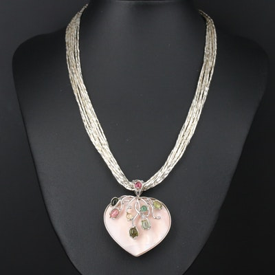 Sterling Silver Shell and Tourmaline Heart Pendant on Liquid Silver Necklace